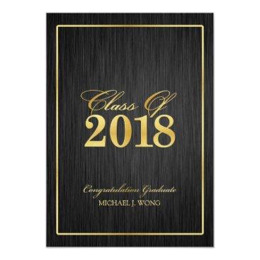Elegant Modern Gold Class of 2018 Graduation Invitation
