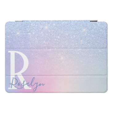 Elegant modern stylish ombre blue glitter rainbow iPad pro cover