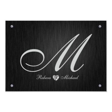 Elegant Monogram  & Diamond Wedding RSVP Cards. Card