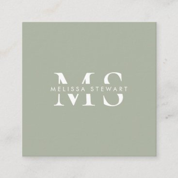 Elegant monogram modern sage green professional square business card