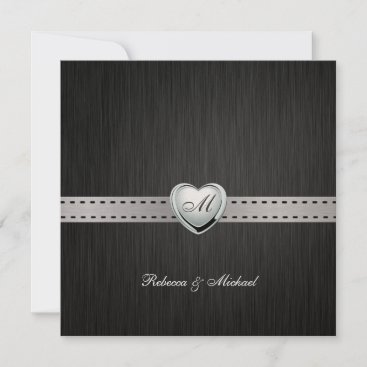 Elegant Monogram Wedding (with wording) Invitation