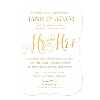 Elegant Mr Mrs Gold Typography Wedding Invite