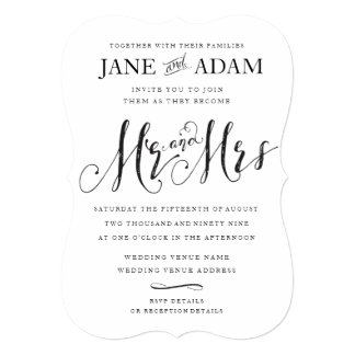 Elegant Mr Mrs Typography Wedding Invitation