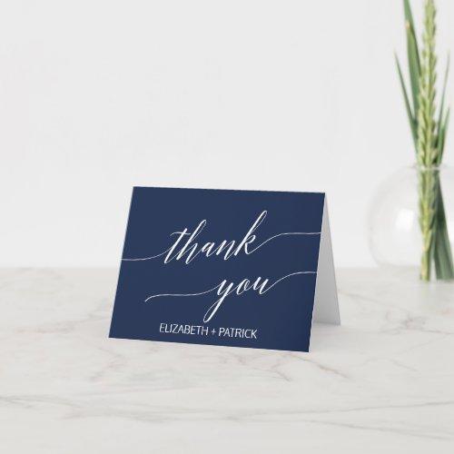 Elegant Navy Calligraphy Thank You Card