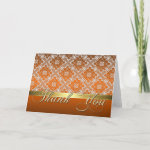 Elegant Orange & Lace Damask Thank You Card