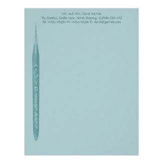 Elegant Pale Green Pen Nib - TBA & Top 10 Views Customized Letterhead