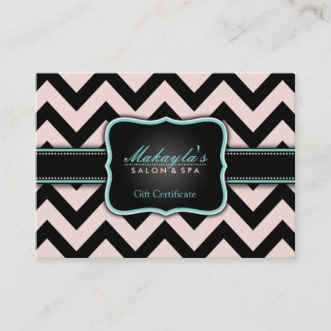 Elegant Pastel Pink and Black Chevron Gift Discount Card