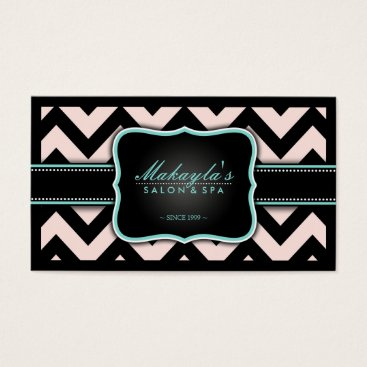 Elegant Pastel Pink and Black Chevron Pattern Business Card