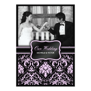 Elegant Pastel Pink and Black Damask Wedding Photo Invitation
