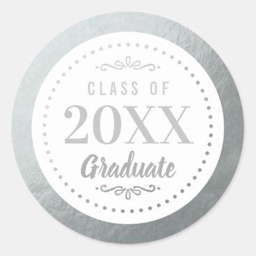 Elegant Personalized Graduate Faux Silver Foil Classic Round Sticker
