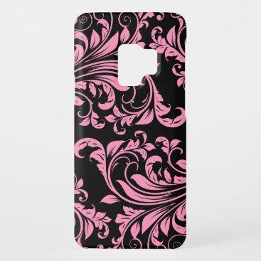 Elegant Pink and Black Floral Damask Case-Mate Samsung Galaxy S9 Case
