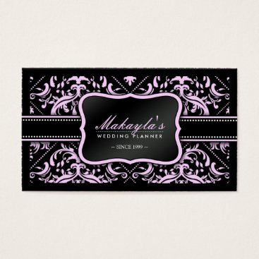 Elegant Pink & Black Damask Wedding Planner Business Card