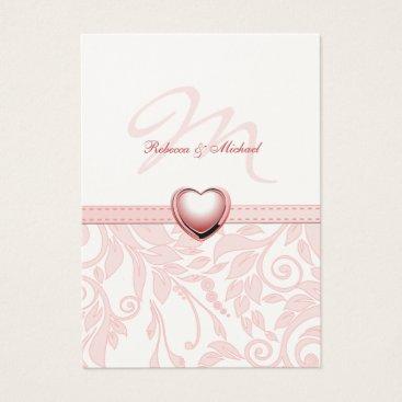 Elegant Pink Damask with Monogram RSVP Cards