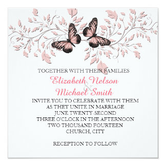 Elegant Pink Floral Butterfly Wedding Invite