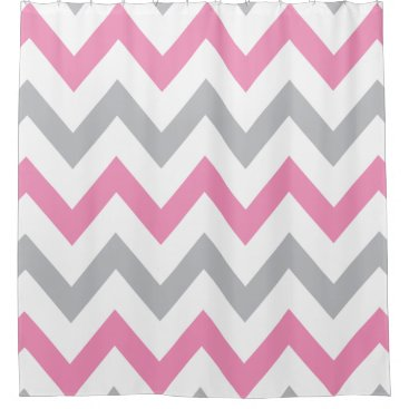 Elegant Pink, Grey and White Chevron Pattern Shower Curtain