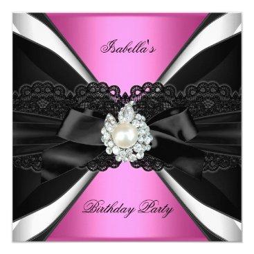 Elegant Pink Jewel Black White Birthday Party Invitation