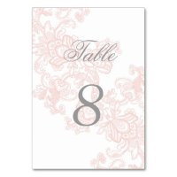 Elegant Pink Lace Wedding Table Number Card | Zazzle