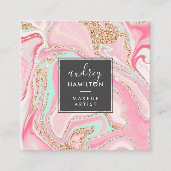 Elegant pink marble rose gold modern makeup artist square business card