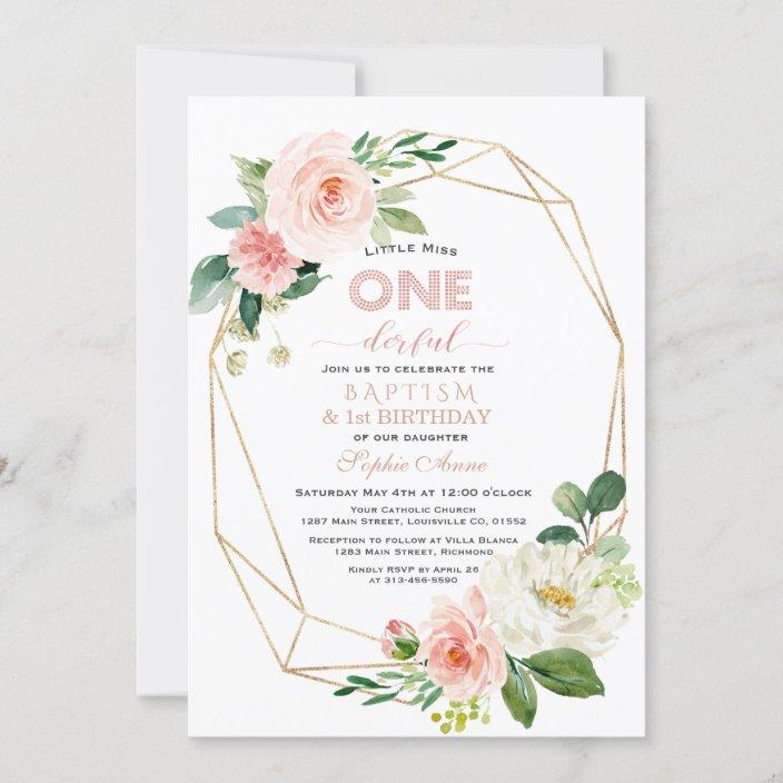 elegant pink white floral baptism first birthday invitation zazzle com