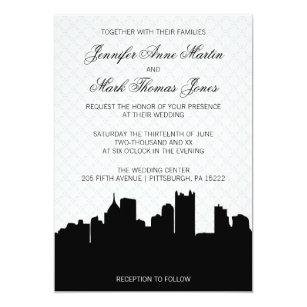 Elegant Pittsburgh Black And White Lace Wedding Invitation