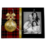 Elegant Plaid w/Photo Christmas Large Gift Bag