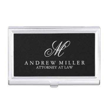 Elegant Professional Black Monogram Business Card Holder