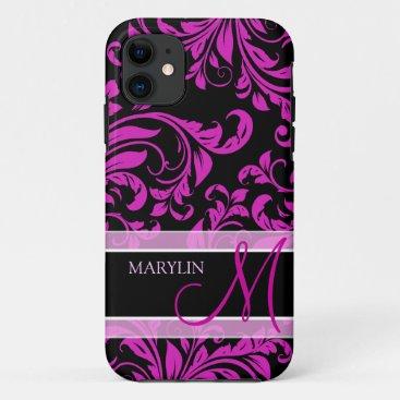Elegant Purple and black damask with monogram iPhone 11 Case