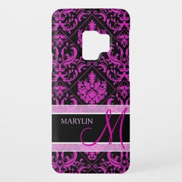 Elegant Purple & Black Damask with monogram Case-Mate Samsung Galaxy S9 Case