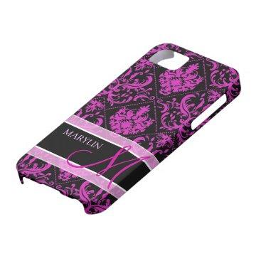 Elegant Purple & Black Damask with monogram iPhone SE/5/5s Case