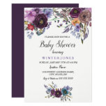 Elegant Purple Floral Winter Baby Shower Invite