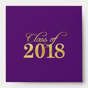 Elegant Purple & Gold Class of 2018 Graduation Envelope