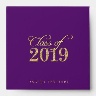 Elegant Purple & Gold Class of 2019 Graduation Envelope