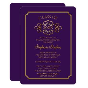 Elegant Purple | Gold College Graduation Party Invitation