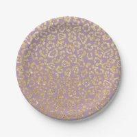 Elegant Purple & Gold Leopard Print Paper Plate | Zazzle