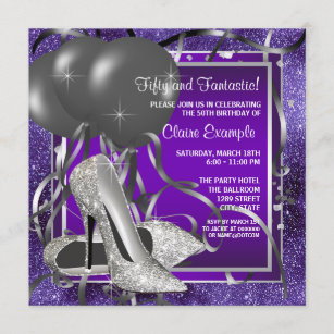 purple 18th birthday invitations zazzle