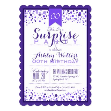 Elegant Purple, White Surprise Birthday Party Card
