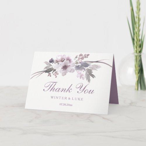 Elegant Purple Winter Floral Wedding Thank You
