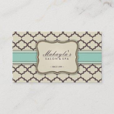 Elegant Quatrefoil Modern Brown, Green and Beige Business Card