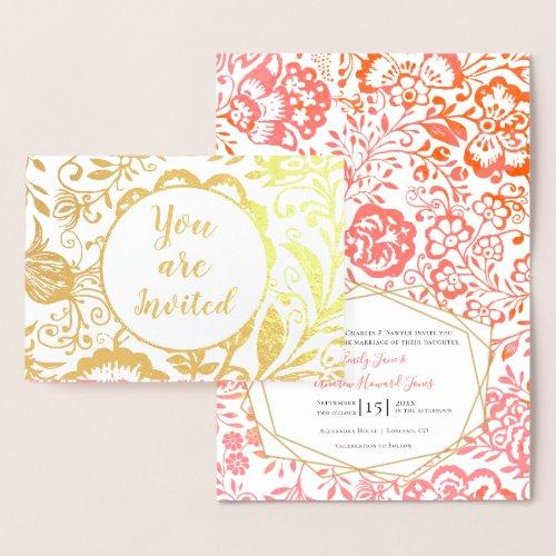Elegant Real Gold Foil Floral Wedding Invitation