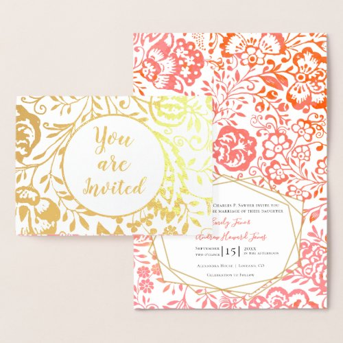 Elegant Real Gold Foil Floral Wedding Invitations