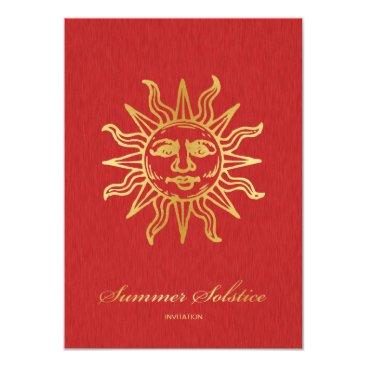 Elegant Red and Gold Metallic Summer Solstice Invitation