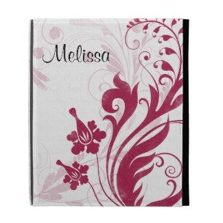 Elegant Red Black White Floral iPad Folio Case