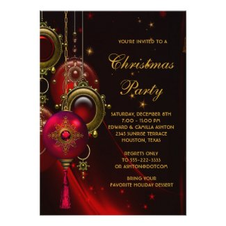 Elegant Red Gold Christmas Holiday Party Custom Invitation