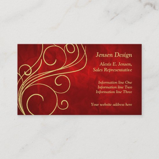 Elegant Red Gold Swirl Design Business Card