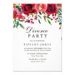 Elegant Red Rose Flower Divorce Party invite
