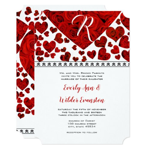 Elegant Red Roses and Hearts Wedding Invitation