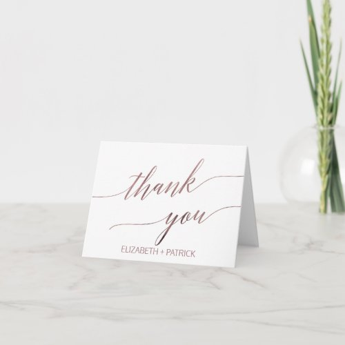 Elegant Rose Gold Calligraphy Thank You Card