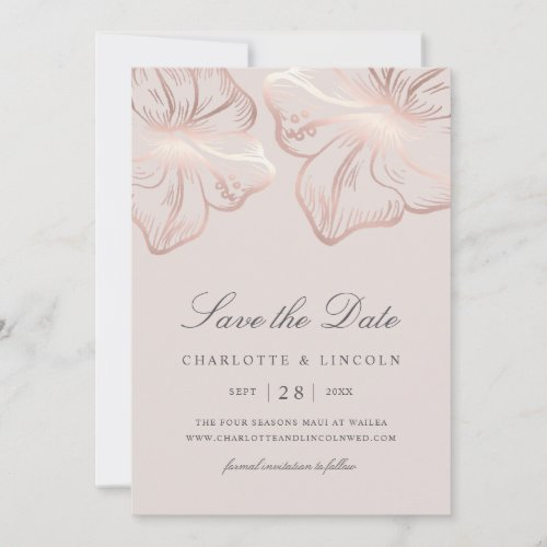 Elegant Rose Gold Hibiscus Flower Wedding Save The Date