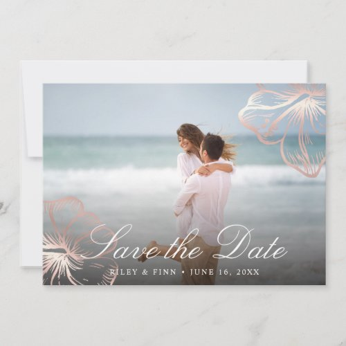 Elegant Rose Gold Tropical Hibiscus Floral Photo Save The Date