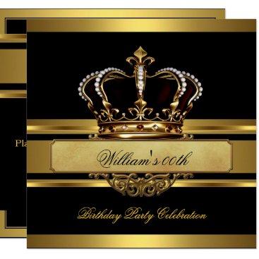 Elegant Royal Black Gold Birthday Prince King Invitation